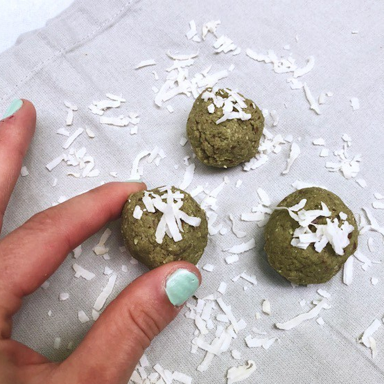 Protein matcha balls with shredded coconut